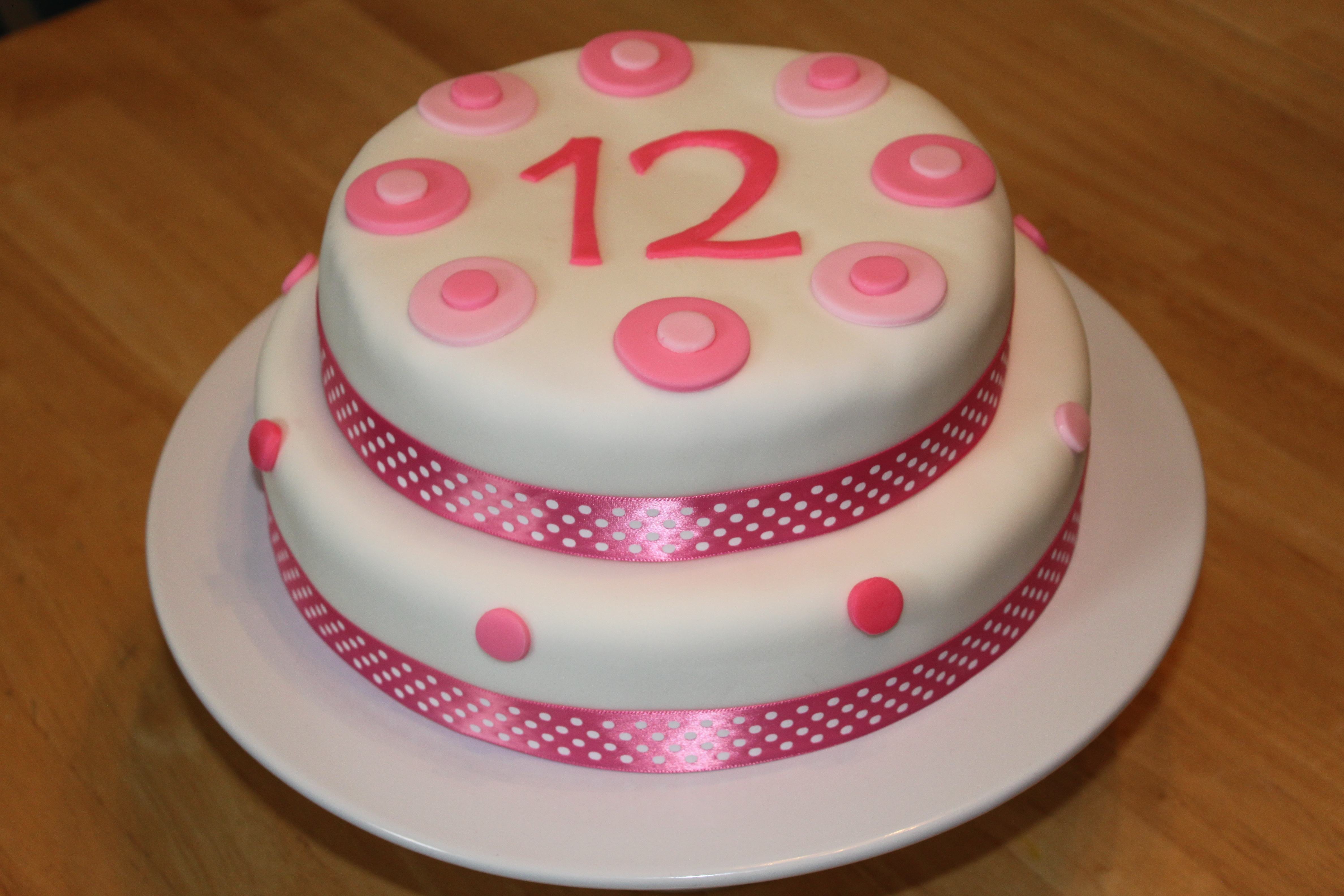Pink And White Fondant Birthday Cake Pennys Food Blog