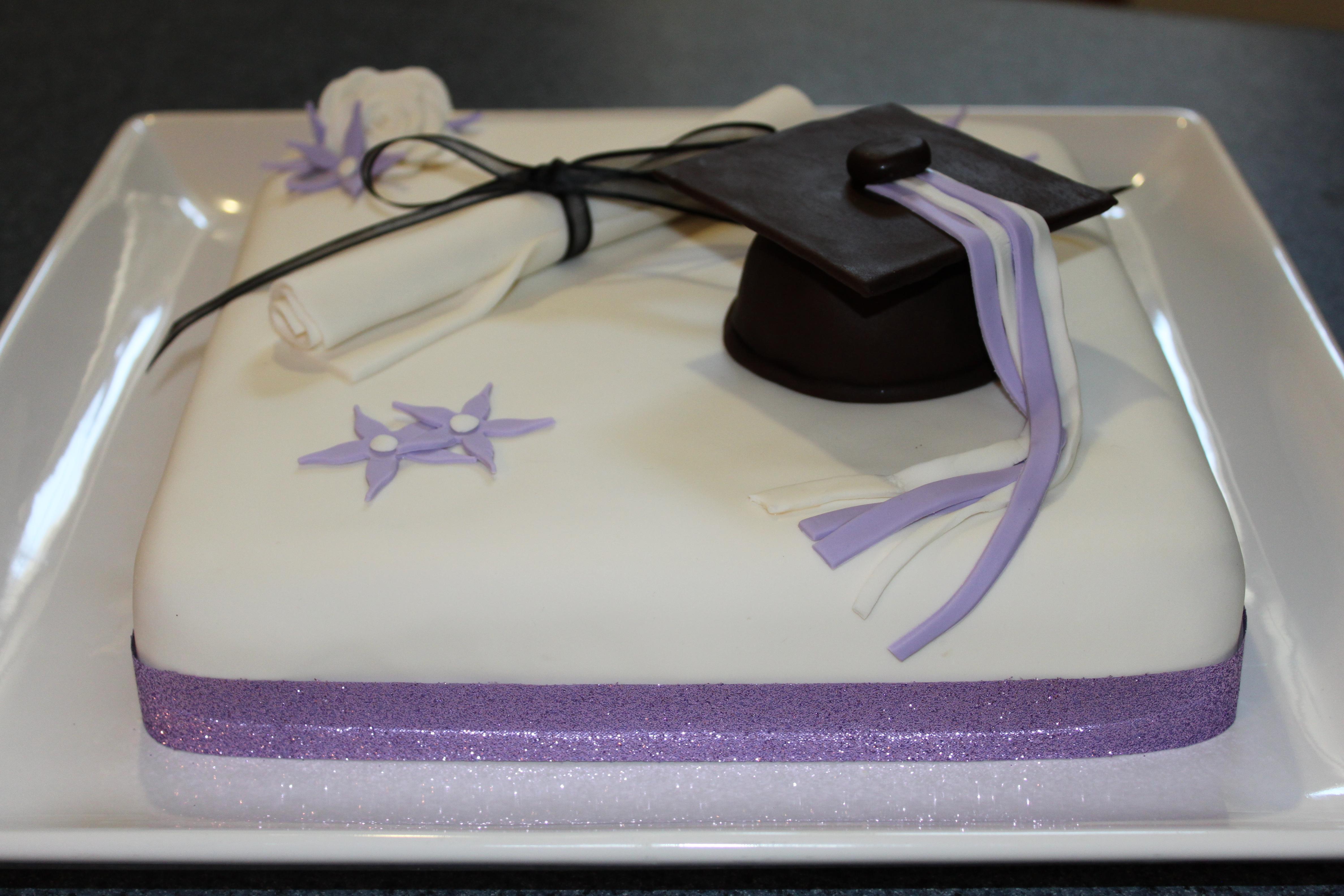 White And Purple Graduation Cake Pennys Food Blog