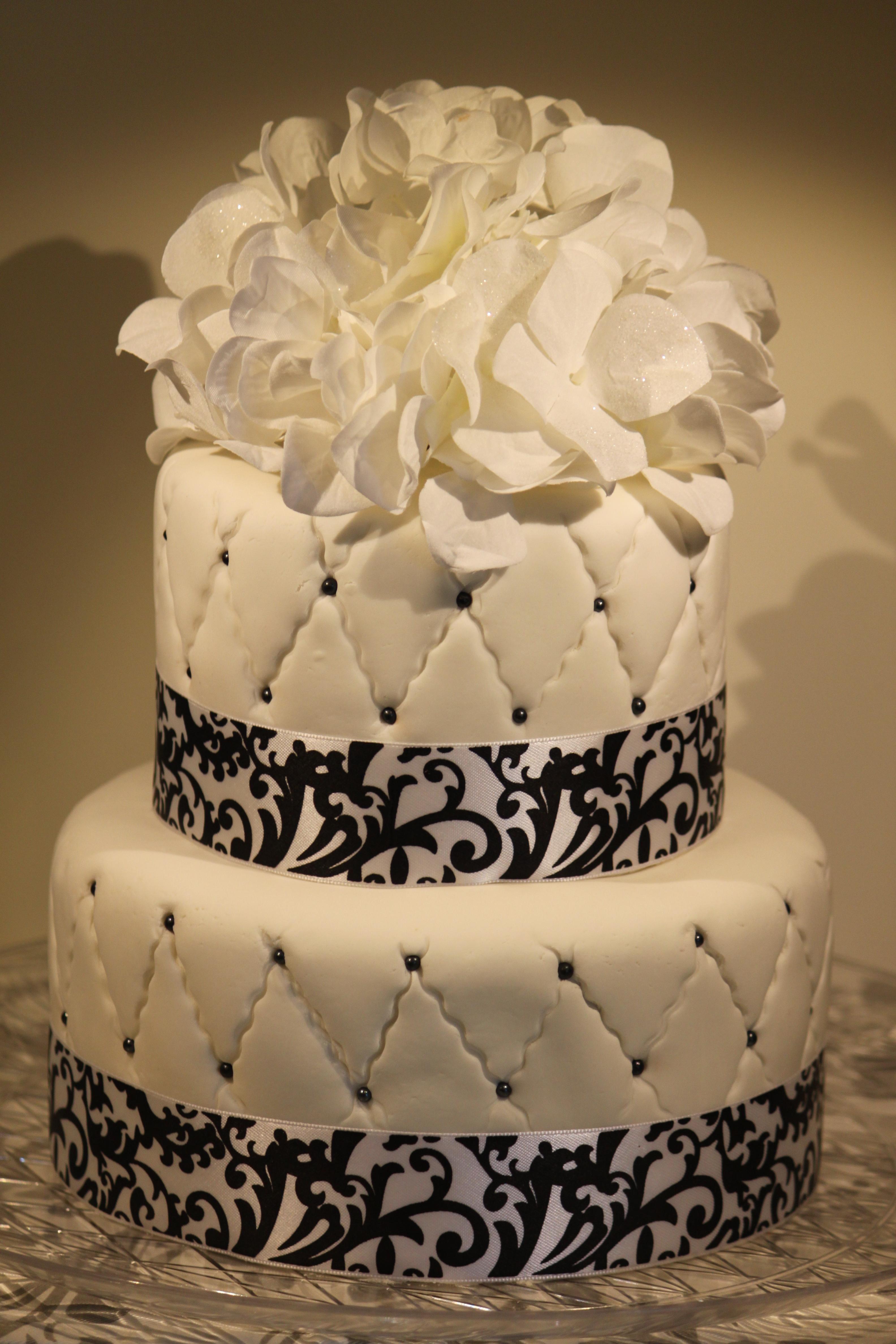 Black And White Quilted Fondant Birthday Cake