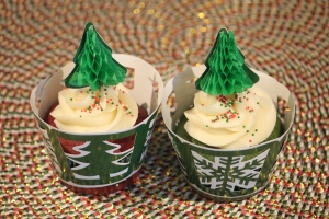 Red and Green Velvet Cupcakes
