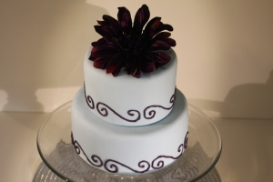 Purple and Baby Blue Wedding Cake