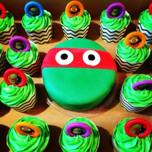 Teenage Mutant Ninja Turtles Birthday Mini Cake and Cupcakes