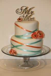 Turquoise and Coral Wedding Cake
