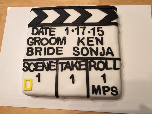 Rice Krispie Treat Movie Slate Groom's Cake