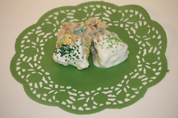 Chocolate Dipped Lucky Charms Treats