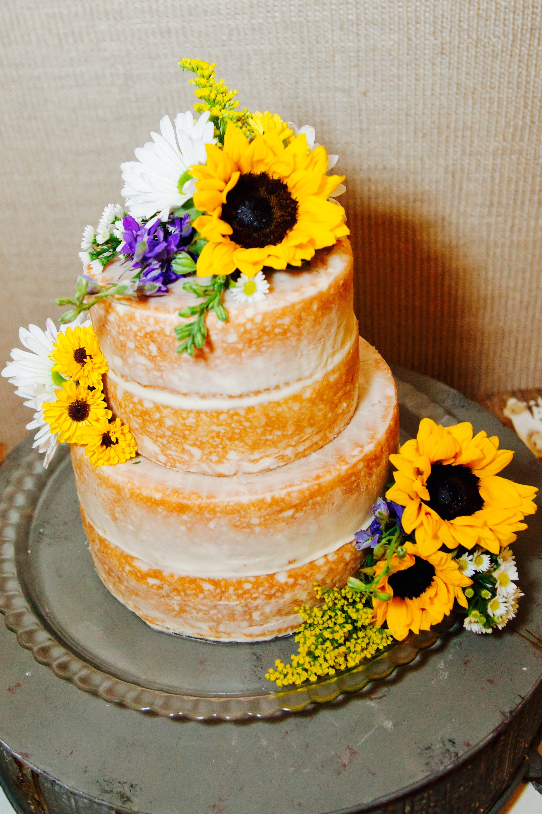 "Rustic ""Naked"" Wedding Cake with Sunflowers 