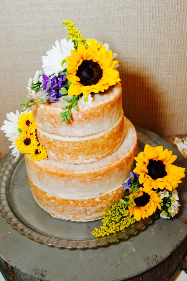 """Naked"" Sunflower Wedding Cake"