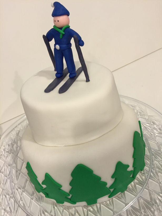 Snow Skiing Fondant Cake