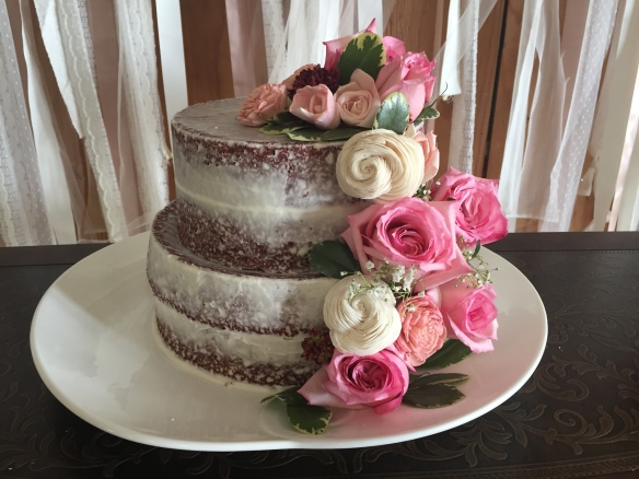 Red Velvet Naked Wedding Cake With Pink And White Flowers The Best