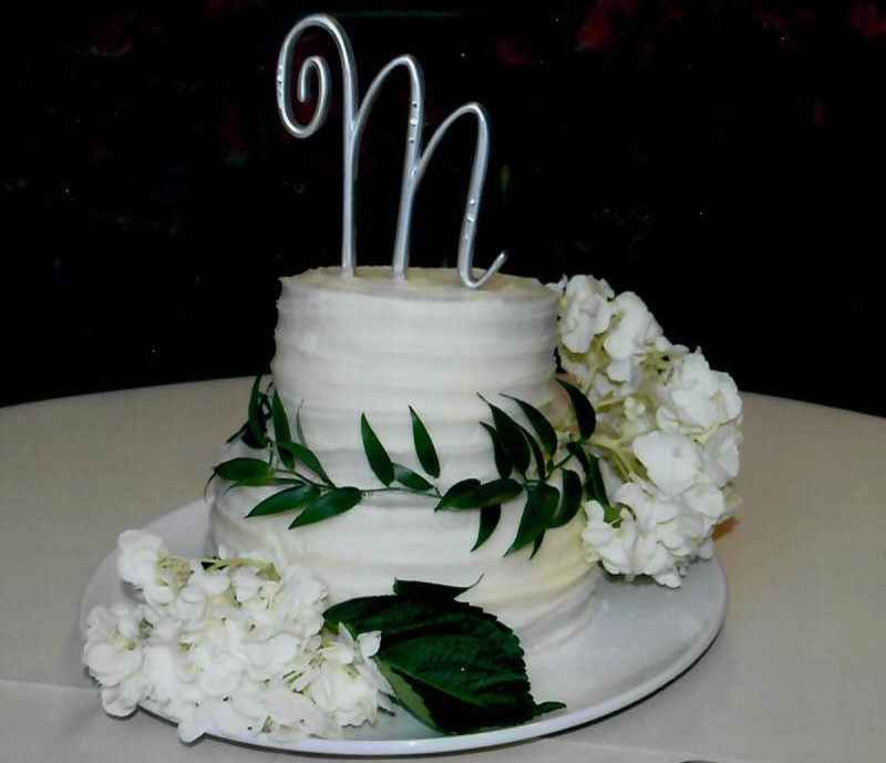 Cake Decorating Striped Icing : Buttercream Striped Wedding Cake with Flowers Penny s ...