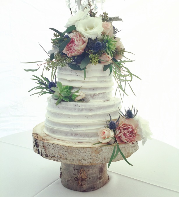 Rustic Buttercream Striped Wedding Cake with Flower Topper