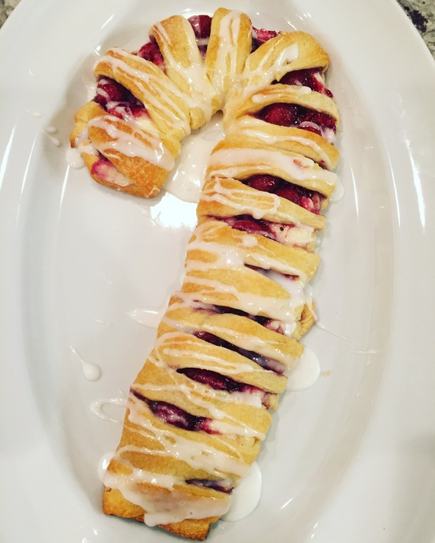 Raspberry Cream Cheese Candy Cane Crescent Danish
