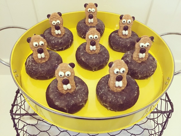Nutter Butter Groundhogs in Chocolate Doughnut Holes