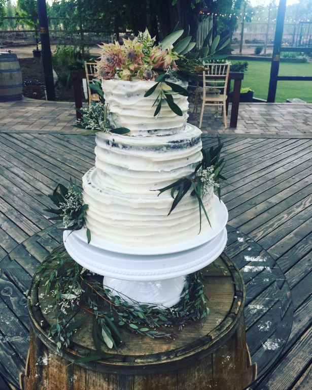 Rustic Buttercream Striped Wedding Cake with Greens
