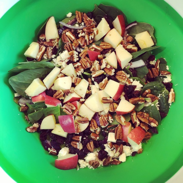 Spinach Salad with Nuts, Apples, Feta and Bacon