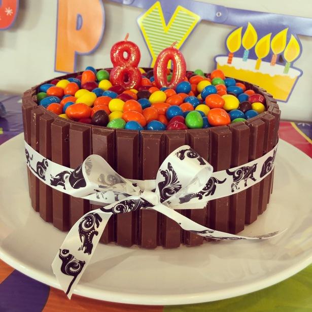 Kit Kat and Peanut M&M Chocolate Birthday Cake