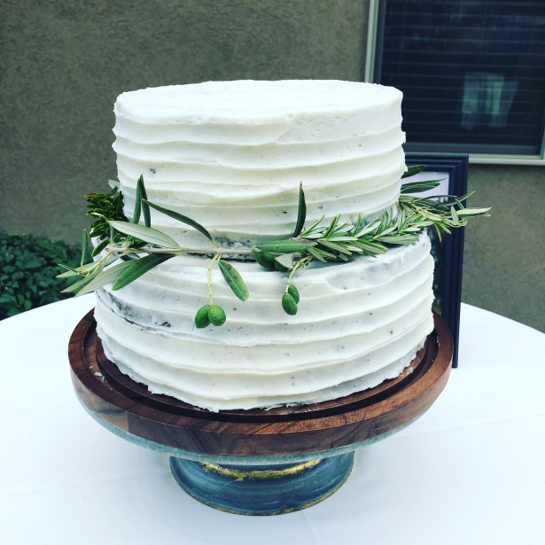 Simple Rustic Buttercream Striped Wedding Cake with Greens