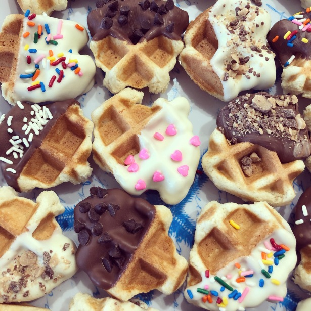 Chocolate Dipped Sugar Cookie Waffles