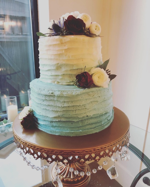 Blue Ombre Buttercream Striped Wedding Cake