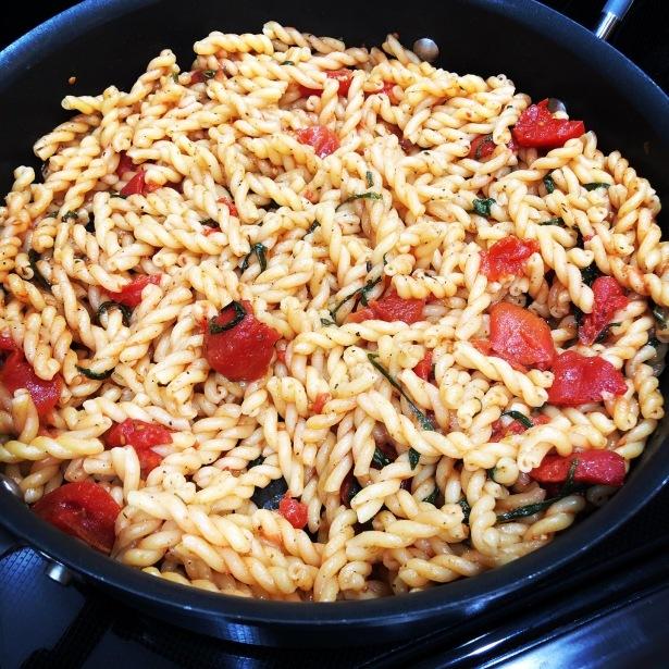 Tomato Basil Gemelli Skillet