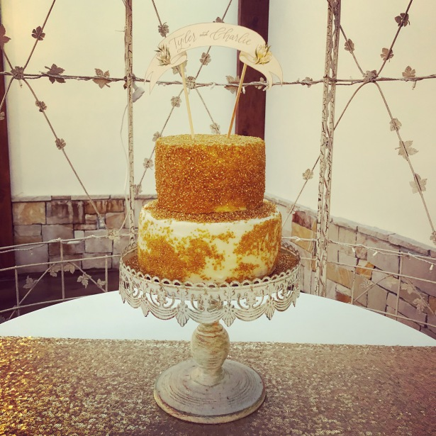 Gold Sprinkle Wedding Cake