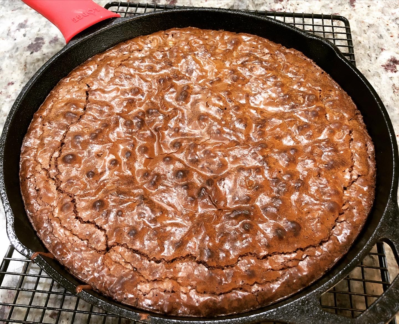 Toffee Pecan Skillet Brownies
